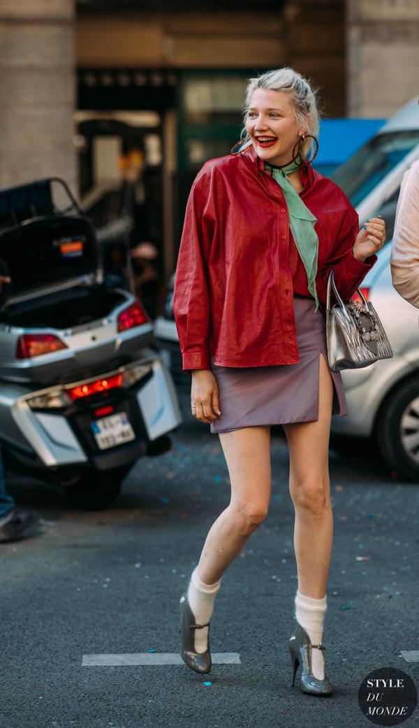 jacket red jacket shoes socks tommy hilfiger mini skirt