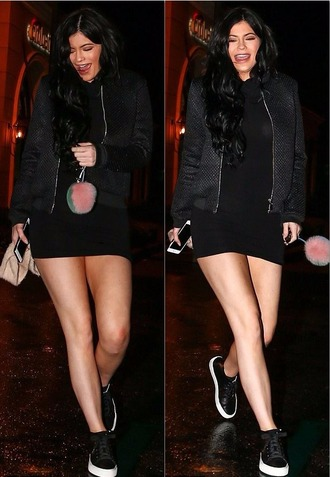 jacket fall outfits sneakers black dress mini dress kylie jenner bodycon dress shoes