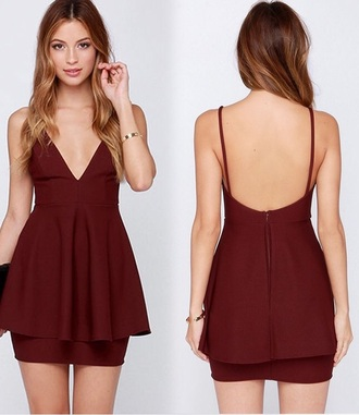 dress maroon/burgundy cute