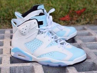 shoes jordans white light blue sneakers retro jordans jordan retro 6