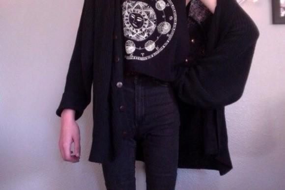 sun black shirt black and white b&w mystical wicca dark fashion black shirt zodiac t-shirt white grunge jacket moon lunar softgrunge outfit top cute tumblr