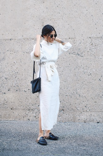 elif filyos blogger dress shoes bag all white everything minimalist zara gucci celine bag celine tattoo maxi dress long dress white dress black sunglasses gucci slide shoes slide shoes gucci shoes gucci princetown furry shoes