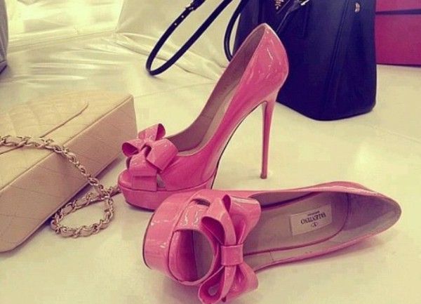 shoes pink pink high heels bows pink bow