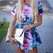 pink dress,roses,blue dress,short dress,bag,gold,matalic,clutch,purse,floral,dress,skater,skater skirt