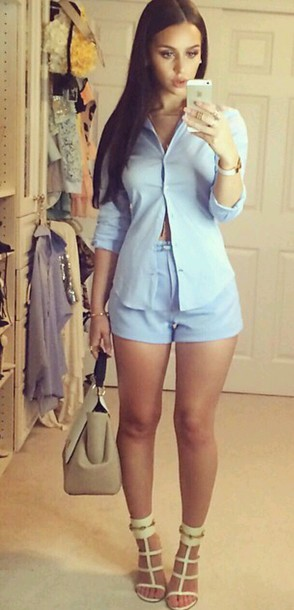 blue shirt blue shorts shorts blouse blue bluse top jewels bag light sky blue along with the top she has on i can't sen to find this outfit anywhere