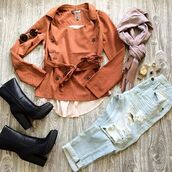 jacket,belle xo,coat,long sleeves,buttons,tie,tie around the waist,rust,orange,copper,brick,winter outfits,fall outfits,comfy,oversized,loose,fit,spring,summer,fashion,style,cute,36683