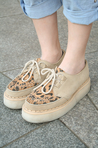 shoes leopard print beige creepers laced flats platform shoes flatform