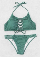 swimwear,green,girly,lace up,bikini,bikini top,bikini bottoms