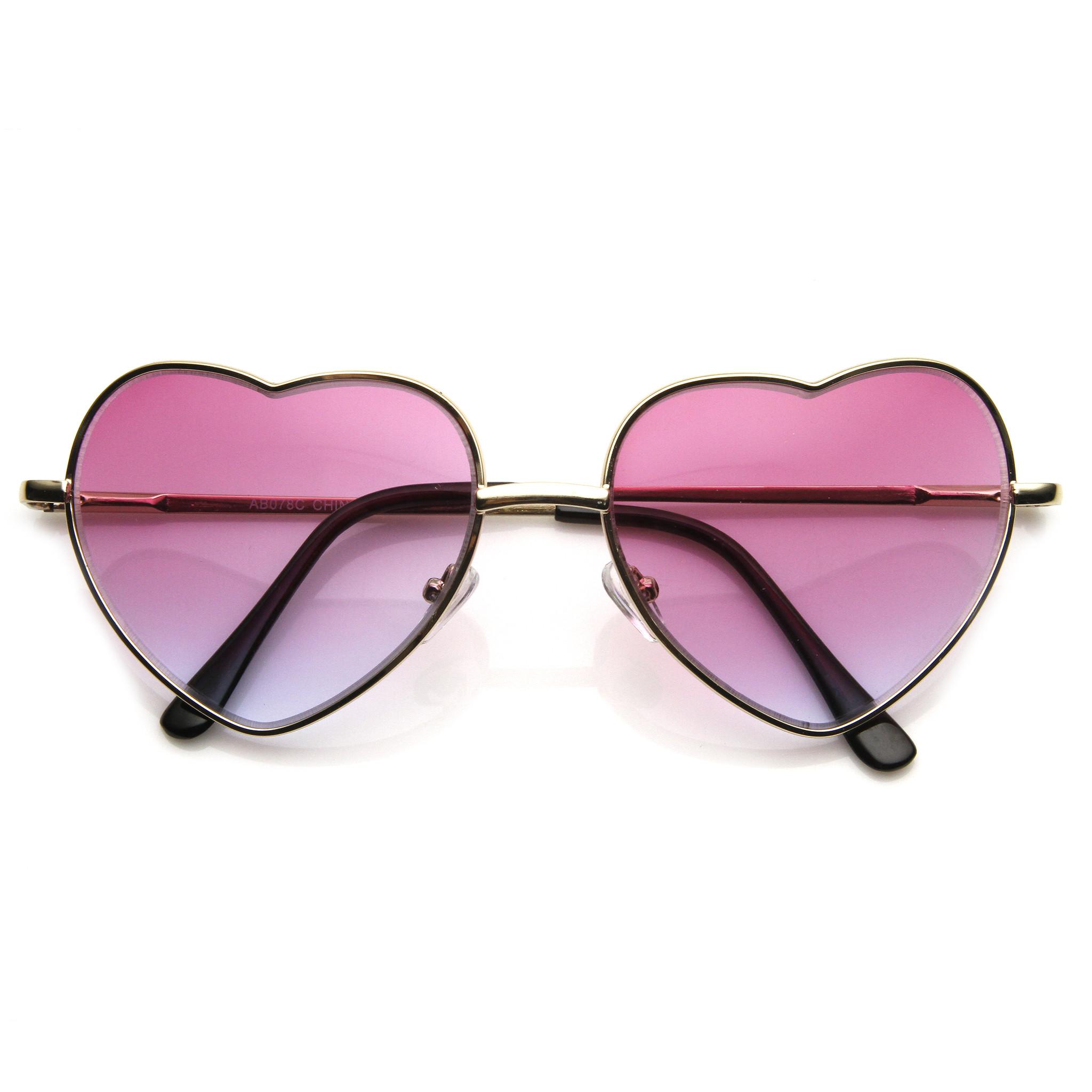 Super Cute Retro Metal Heart Shape Sunglasses With Rainbow Color Lens 9205