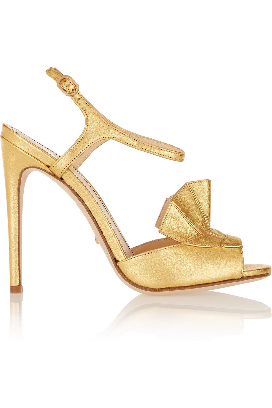 Jerome c. rousseau mills ruffled metallic leather sandals – 80% at the outnet.com