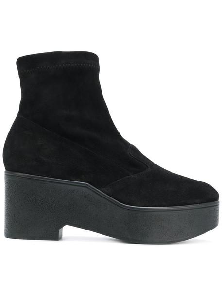 Robert Clergerie women platform boots leather suede black shoes