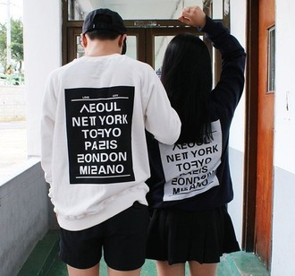 sweater korean fashion kfashion sweatshirt kpop seoul tokyo style letters couple sweaters mens sweater korean style quote on it pullover blouse black and white harajuku text tee streetwear streetstyle graphic sweatshirt