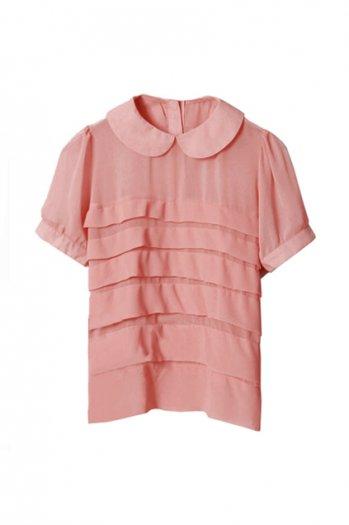 Retro style puff sleeve pink shirt [ncshj0101]