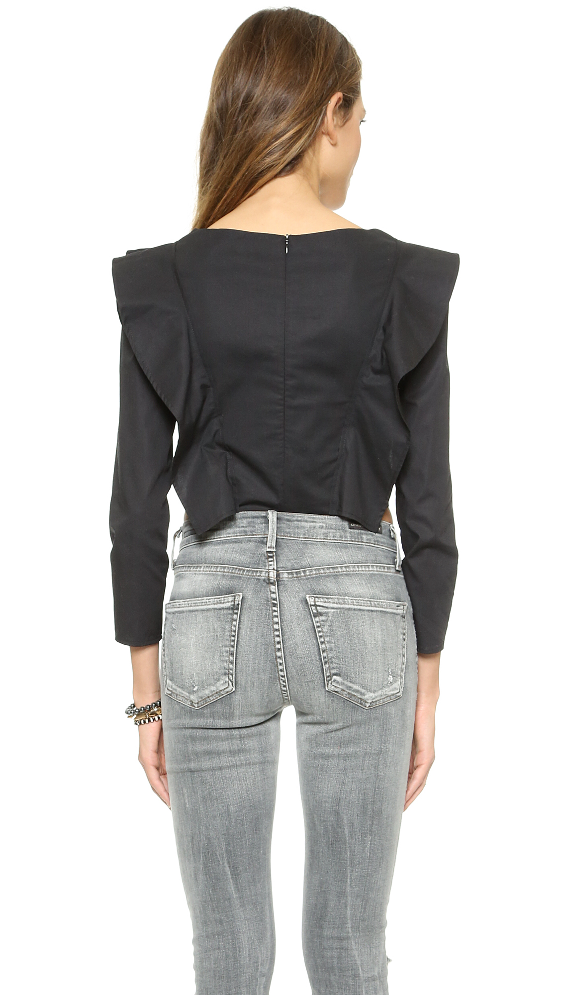 One by viva aviva magnolia long sleeve crop top