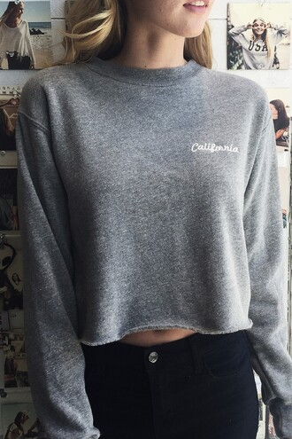 sweater clothes california cropped sweater grey sweater