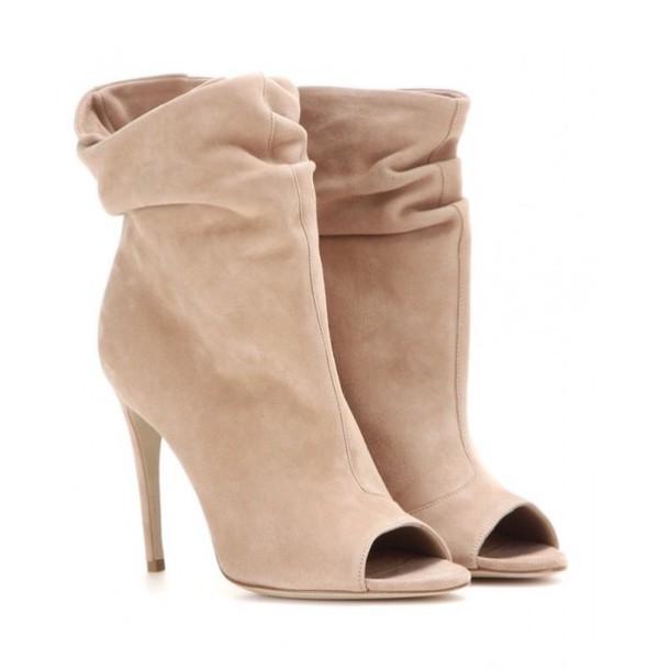 shoes tan peep toe booties