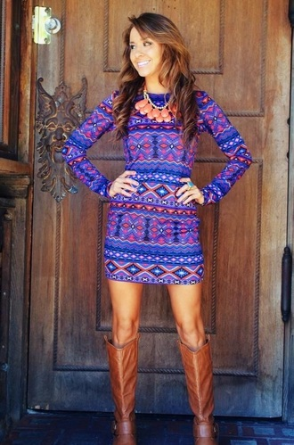 dress tribal print dress long sleeve dress