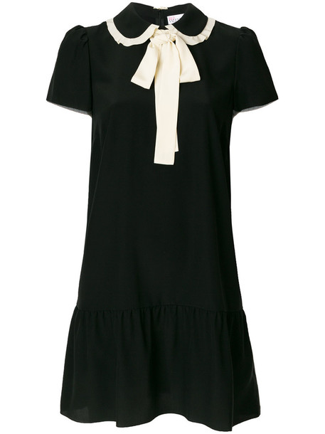 dress short sleeve dress short women black silk