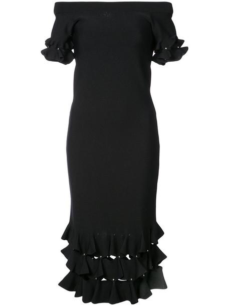 dress ruffle women black