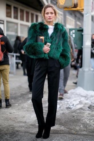 jacket green green jacket comfy model fashion forest green fur