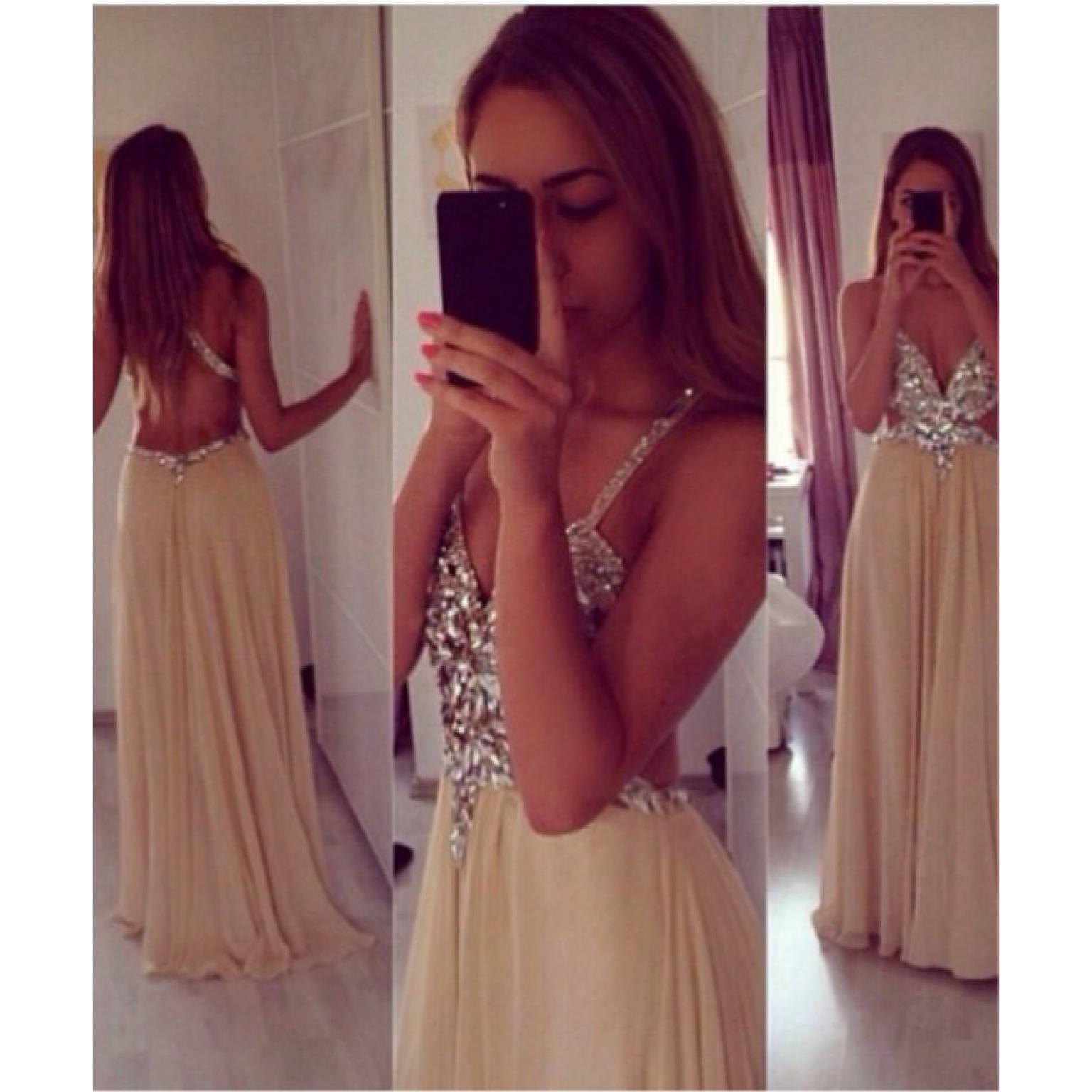 Straps v neck champagne chiffon crytal long evening dress