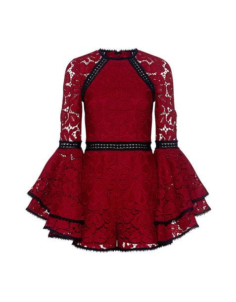 romper lace red
