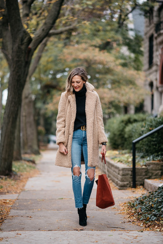 coat tumblr teddy bear coat fuzzy coat nude coat top sweater turtleneck turtleneck sweater denim jeans ripped jeans boots black boots bag brown bag