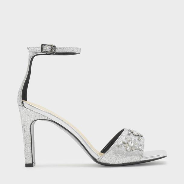 open embellished sandals silver shoes