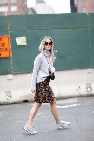 sweater tumblr grey sweater turtleneck turtleneck sweater skirt midi skirt leopard print animal print printed skirt sneakers grey sneakers sunglasses bag crossbody bag