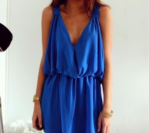 dress royal blue dress blue dress short dress style solid