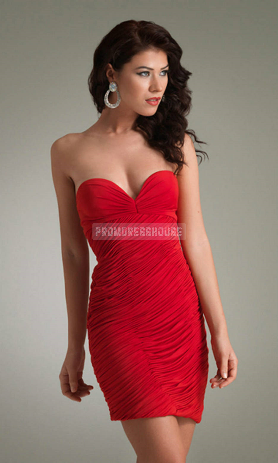 Sheath Charming Chiffon Pleated Short Length Sweetheart Cocktail Dress - Promdresshouse.com