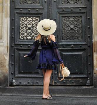 dress navy dress hat tumblr mini dress navy blue dress cut-out shoes mules bag basket bag sun hat