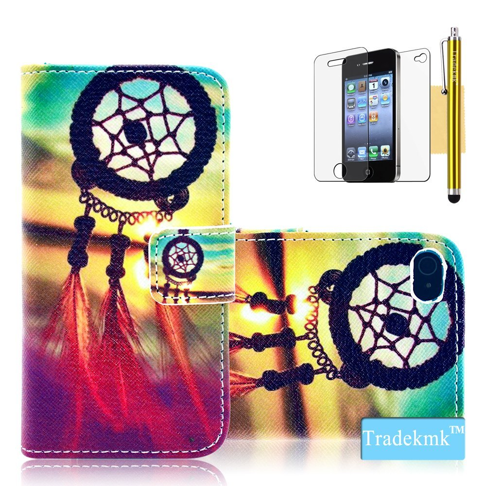 new concept 3d270 aa5ae Amazon.com: iPhone 4 Case, iPhone 4S Case, Tradekmk(TM) Colorful Skin  Dreamcatcher Pattern PU Leather Slim Fit Folio Wallet Stand Shell Cover  Case ...