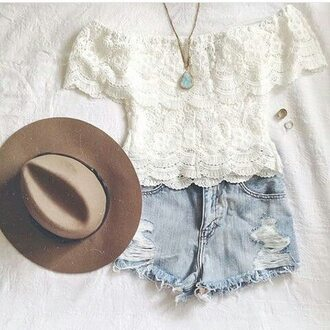 top off the shoulder white lace top white shorts