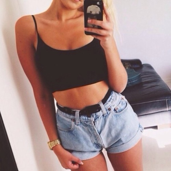 top black and blue blue jeans shorts live black thank top cut off jeans