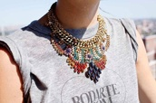 jewels,statement necklace,rodarte,clothes,necklace,streetstyle,jewelry,gold,bright,statement,bright jewelry,bold,color/pattern