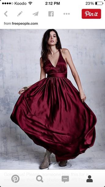 dress burgundy dress free people