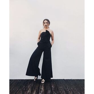 jumpsuit tumblr black jumpsuit wide-leg pants sandals sandal heels mid heel sandals lace up sandals bow all black everything