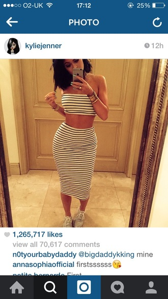 skirt kylie jenner two-piece black and white bodycon bodycon skirt top