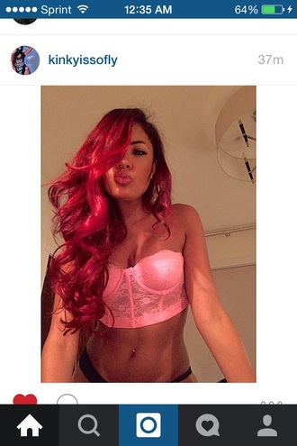 top kinky red pink girl girly dope tazsangels crop tops crop lace top lace crop top hair accessory hairstyles curly hair hair/makeup inspo make-up belly ring belly piercing style fashion dope wishlist girly wishlist jewels