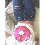 top,donut,croptoptshirt,white top,shirt,donut shirt,loose tshirt,white crop tops,jeans,t-shirt