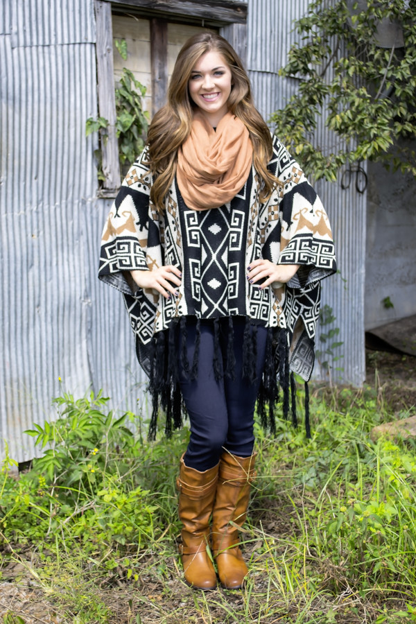 blouse pancho sweater weather fallcollection shopsiloe aztec