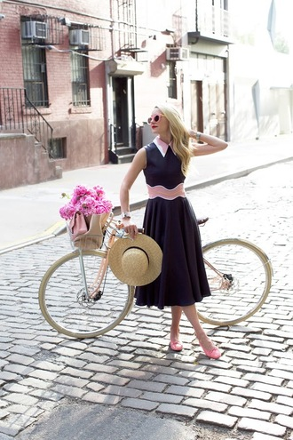 atlantic pacific blogger shoes bag sunglasses blue dress straw hat pink dress midi dress pink sunglasses summer outfits