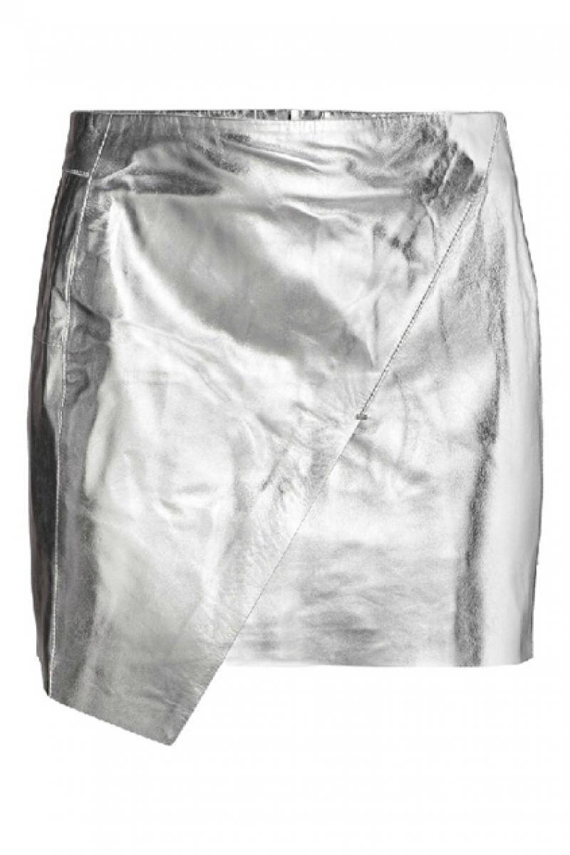 abaday Metalic Asymmetric Silvery PU Skirt