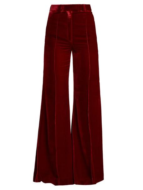 velvet burgundy pants
