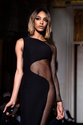dress fashion fashion week 2015 jourdan dunn black sheer bodycon dress