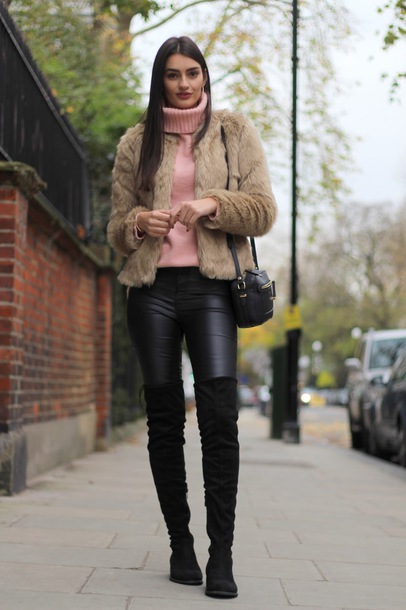 3973bf41d7d06e jacket tumblr fur jacket faux fur jacket pants black pants leather pants  black leather pants boots