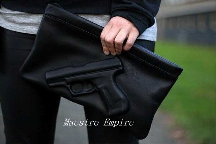 Pistol gun embossed punk mafia hustler mob black clutch sling bag