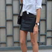 skirt,black,leather,bag,black shoulder bag,shoulder bag,black bag,leather skirt,mini skirt,black skirt,shirt,white shirt,sneakers,adidas,white sneakers,adidas shoes,summer outfits