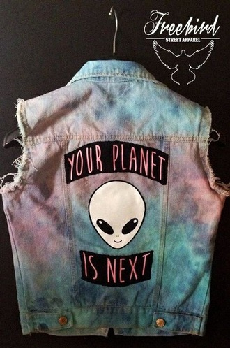 jacket grunge purple lilac alien coat jeans galaxy print colorful soft grunge goth street top shirt blouse science alternative punk